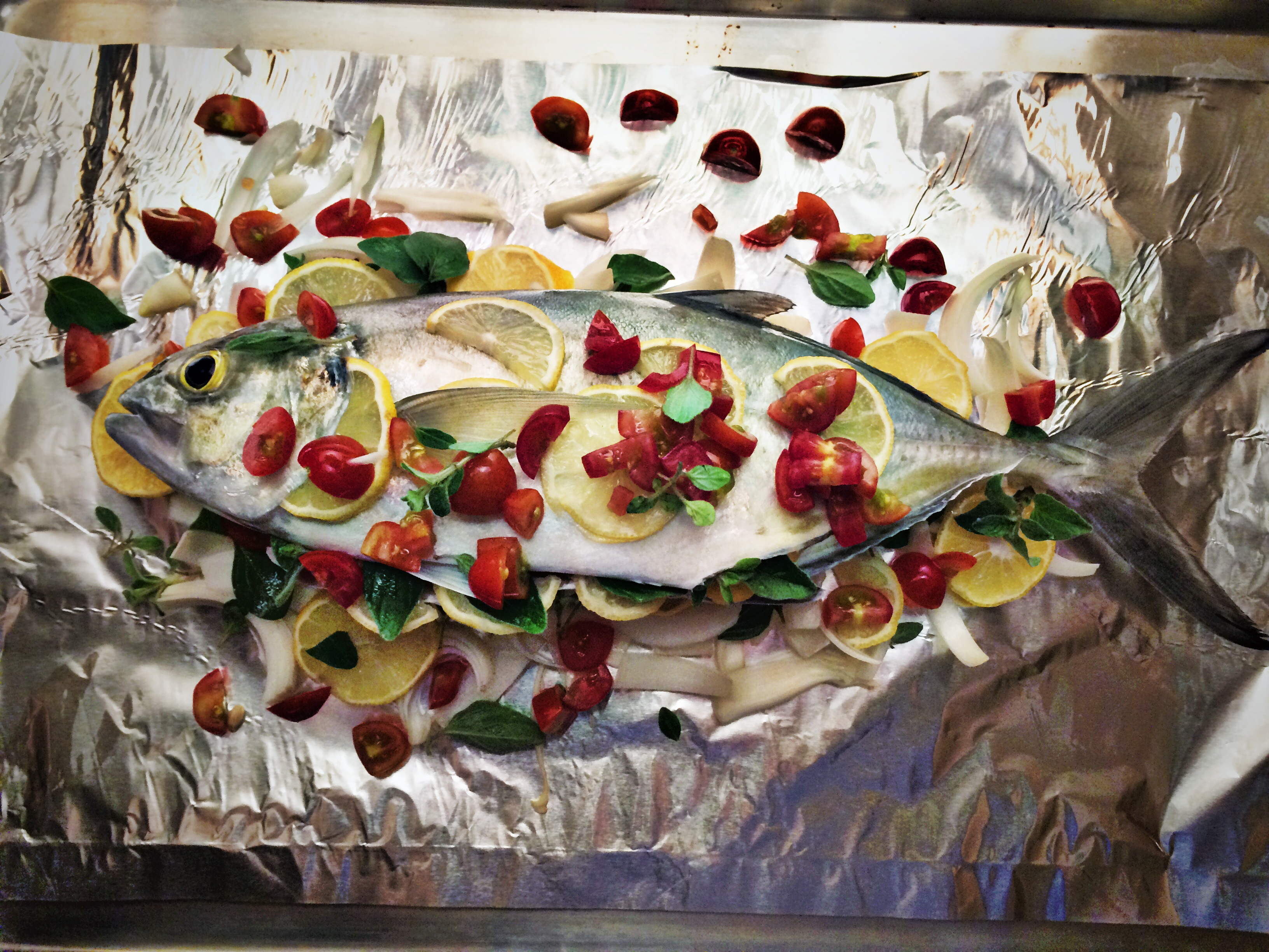Whole amberfish ready to bake.