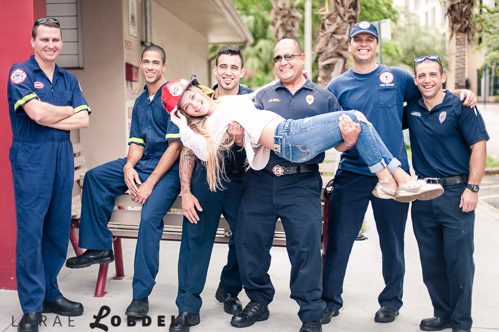 Taylor Ahrend and Miami Firefighters by LaRae Lobdell