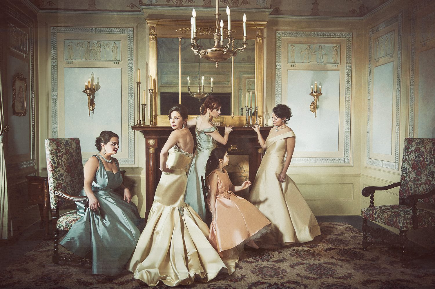 Fashion designer Julie Danforth and her bridesmaids.  processing by Dave Kai-Piper. Image  © LaRae Lobdell 2013.