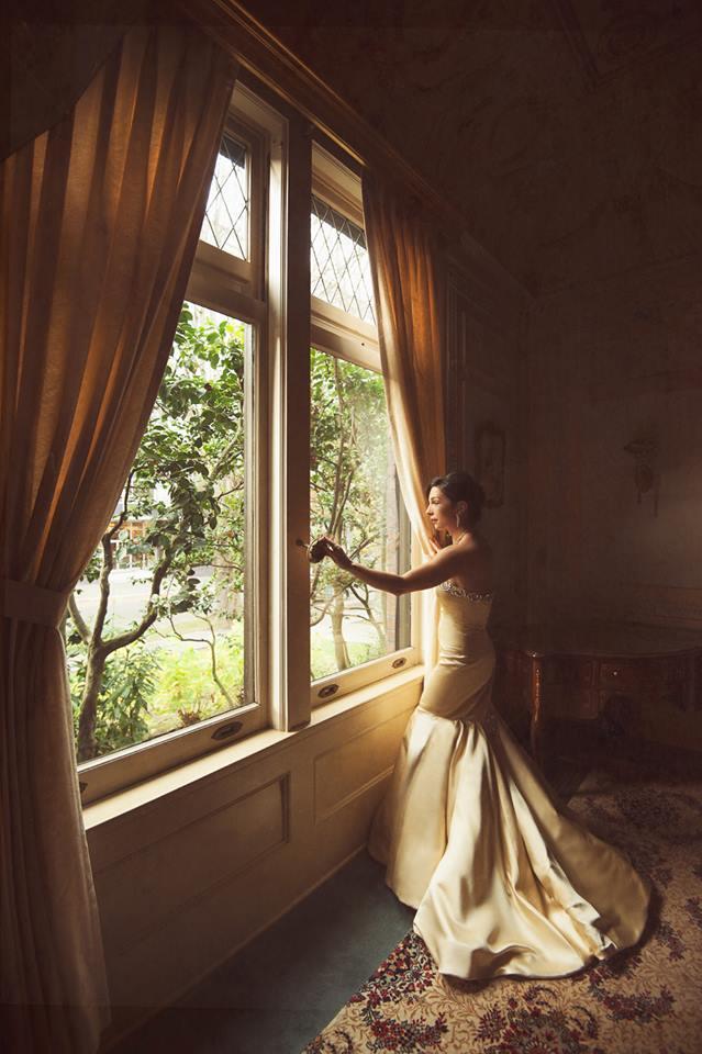 Fashion designer Julie Danforth in her bridal gown.  processing by Dave Kai-Piper. Image  © LaRae Lobdell 2013.