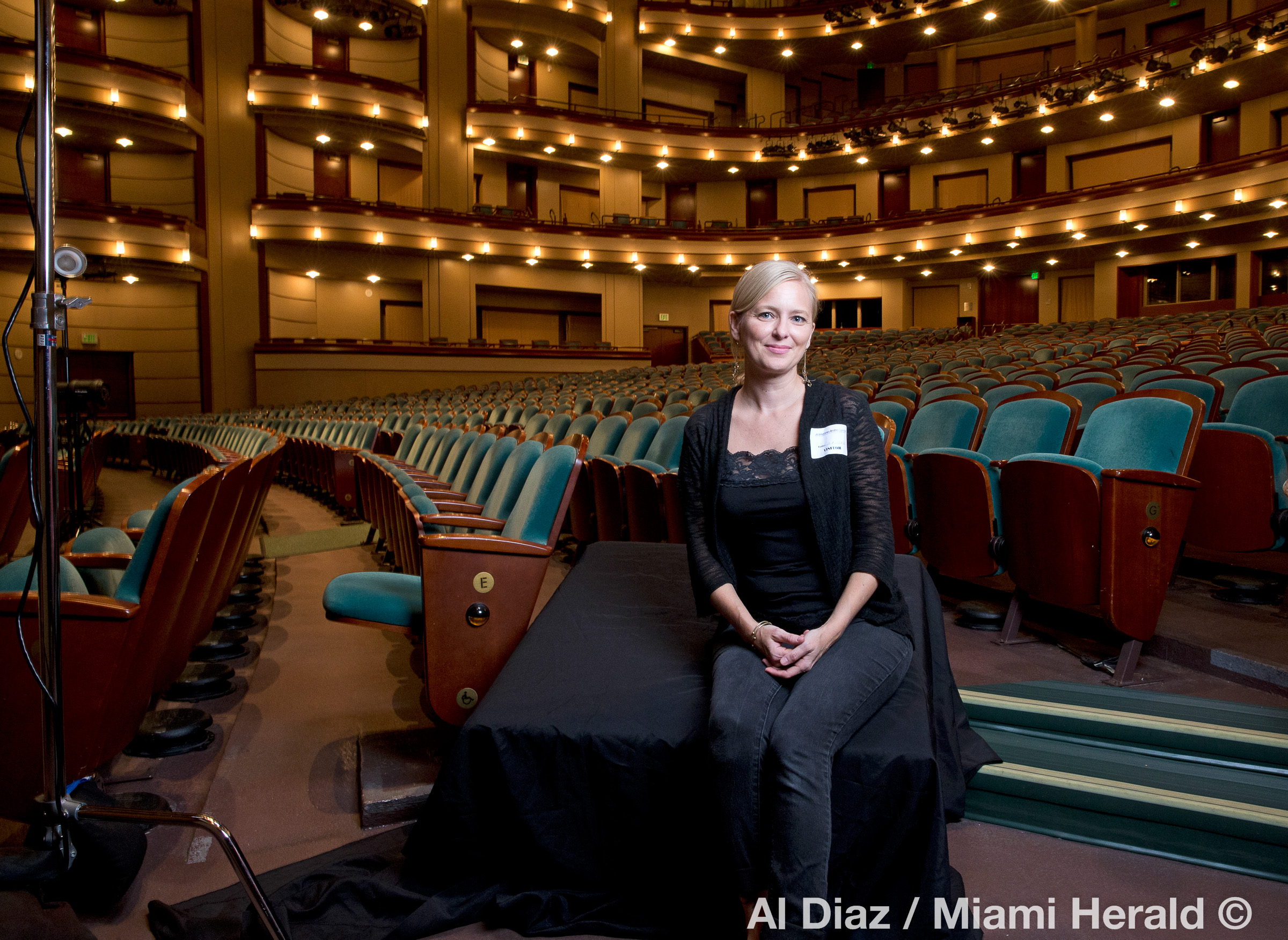 Me sitting on our photography set inside the grand Ziff Ballet Opera House after wrapping a successful shoot for the Miami Herald. I was literally thinking how much I missed spending time shooting inside theatres.  Much thanks to Al Diaz of the Miami Herald for taking this photo.