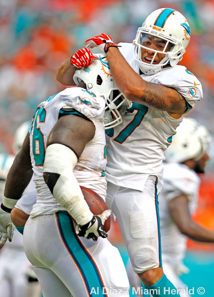 Miami Dolphins defensive back Jimmy Wilson (27) jumps on defensive tackle Anthony Johnson (76) who recovered a fumble in the fourth quarter as the Miami Dolphins host the New England Patriots at Sun Life Stadium in Miami Gardens on Sunday, September 7, 2014.© Al Diaz / Miami Herald