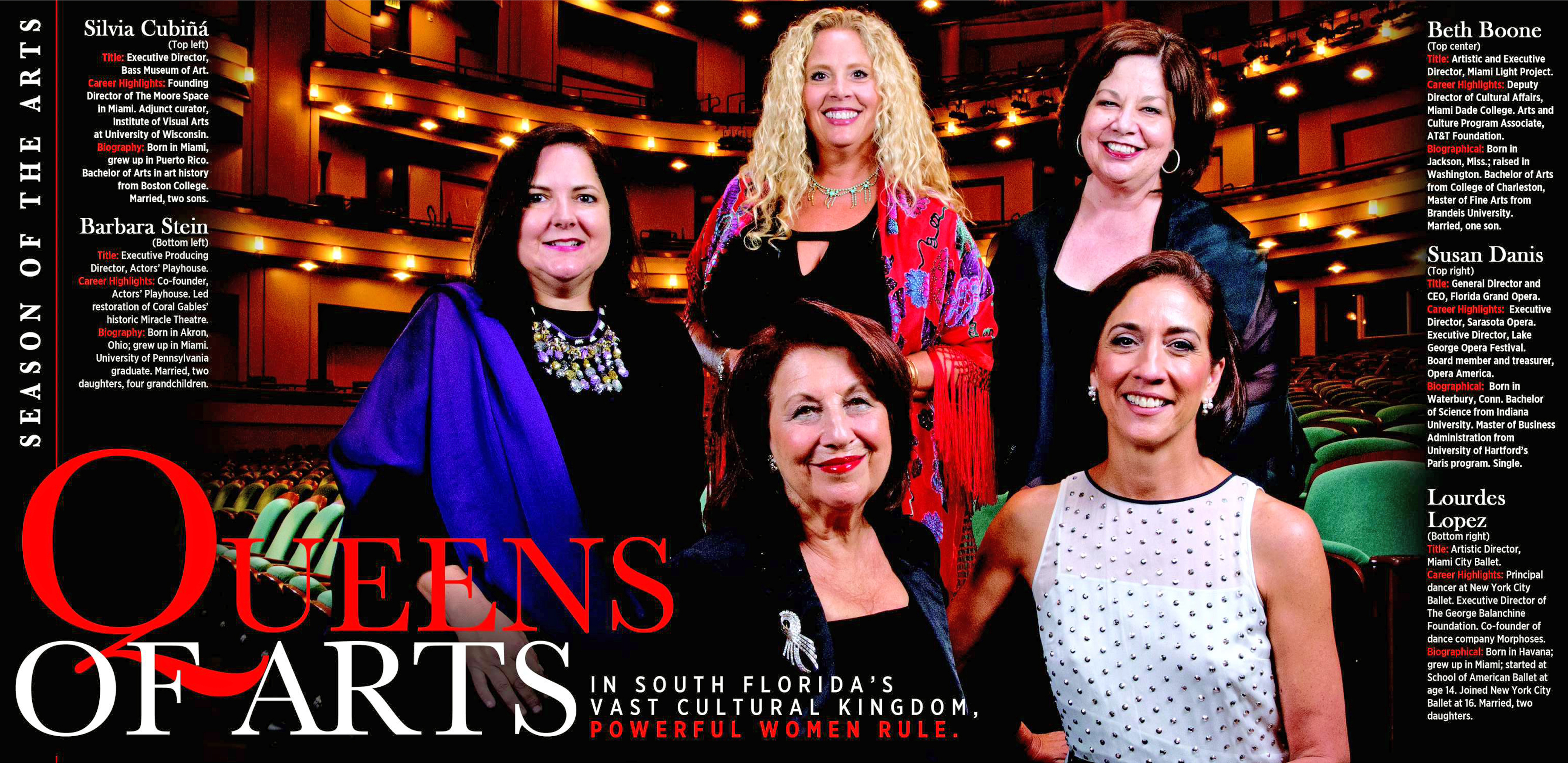 Original image run in the Miami Herald September 21, 2014.  Lourdes Lopez, the head of Miami City Ballet; Susan Danis, the head of Florida Grand Opera; Silvia Karman Cubina, head of the Bass Museum; Beth Boone, head of Miami Light Project; and Barbara Stein, executive director of Actors' Playhouse at the Ziff Ballet Opera House, Adrienne Arsht Center for the Performing Arts on Wednesday, August 27, 2014.  © Al Diaz / Miami Herald