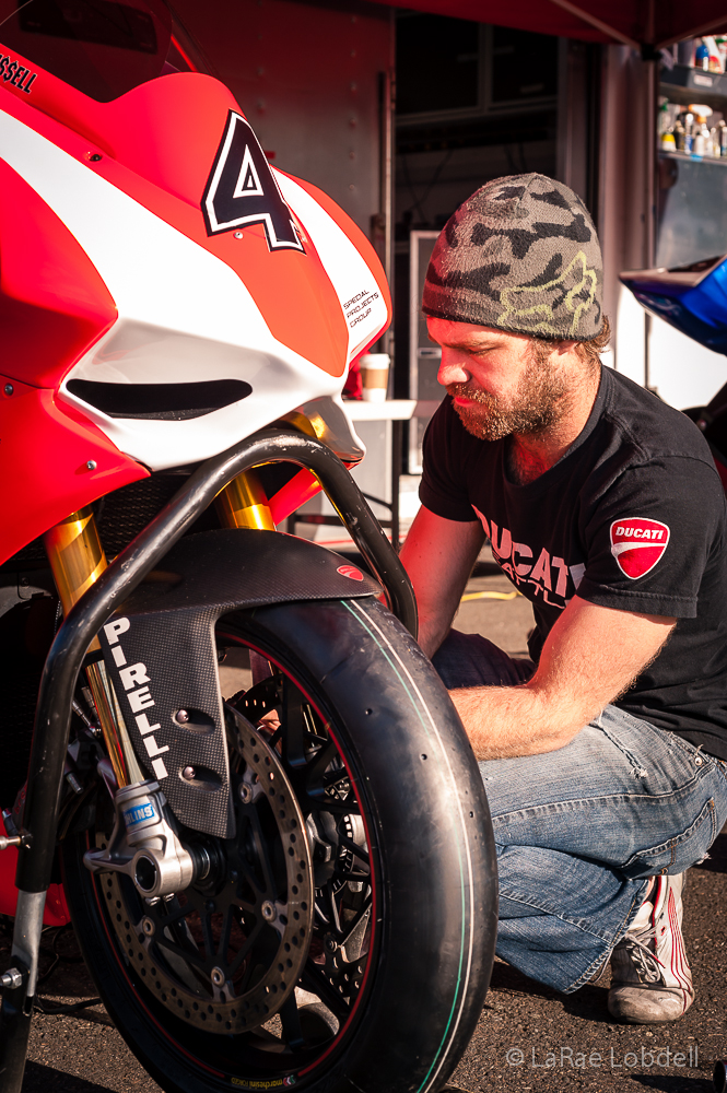 Ducati Seattle-Special Projects Group 1199 Panigale tech Jon Schiereck - at Pacific Raceways WA for the Seattle 100 Camp Korey Fundraiser