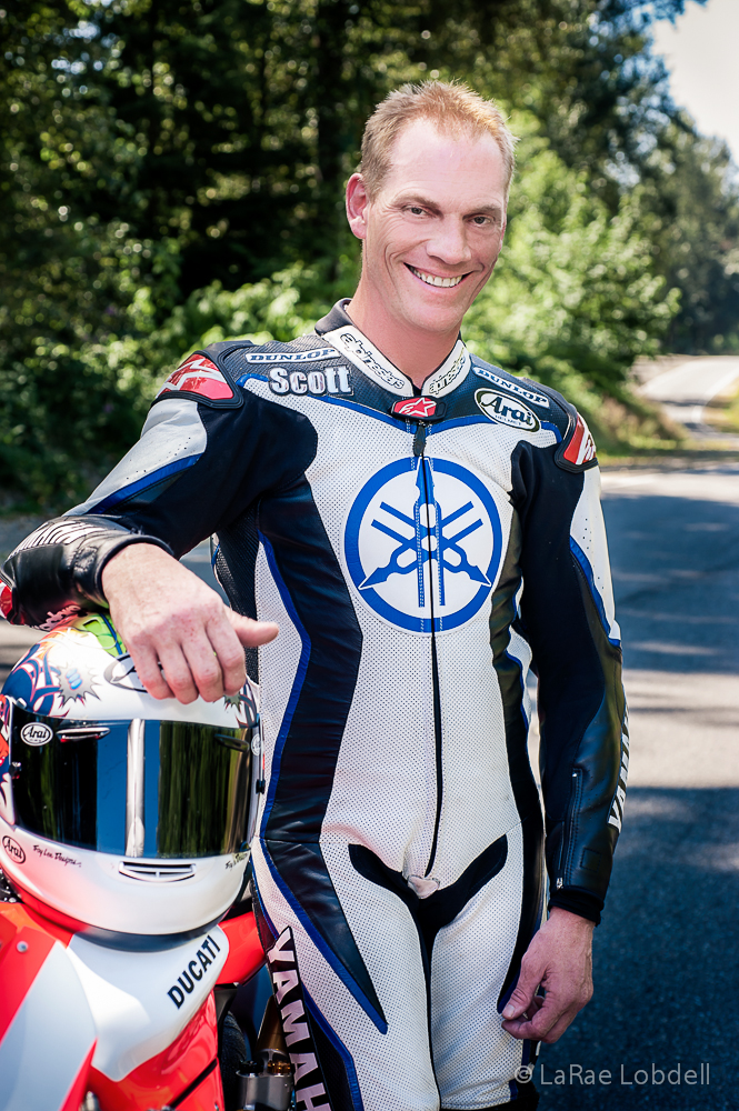 World Superbike and AMA Superbike Champion Scott Russell with the Ducati Seattle-Special Projects Group 1199 Panigale at Pacific Raceways WA for the Seattle 100 Camp Korey Fundraiser