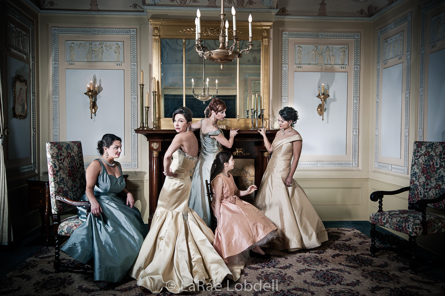 Designer Julie Danforth in her bridal gown with bridesmaids. © LaRae Lobdell 2013.
