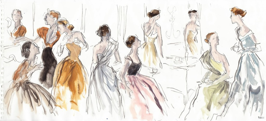 Cecil Beaton & Charles James 1948 sketch