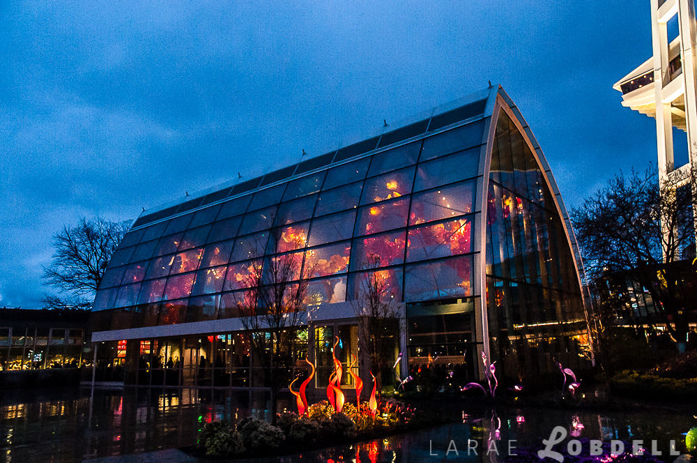 The exterior of Chihuly Garden and Glass in the rain. The glasshouse hosted Metropolitan Fashion Week 2013 in Seattle, Washington, April 13th, 2013.