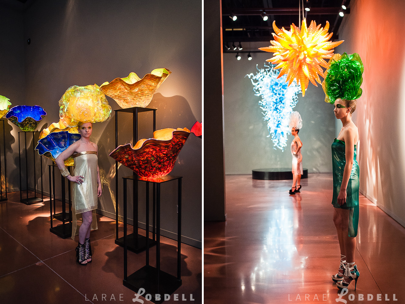 Models in glass-like wraps and head dresses stand by the glass art exhibits created by Dale Chihuly at the Chihuly Garden and Glass.