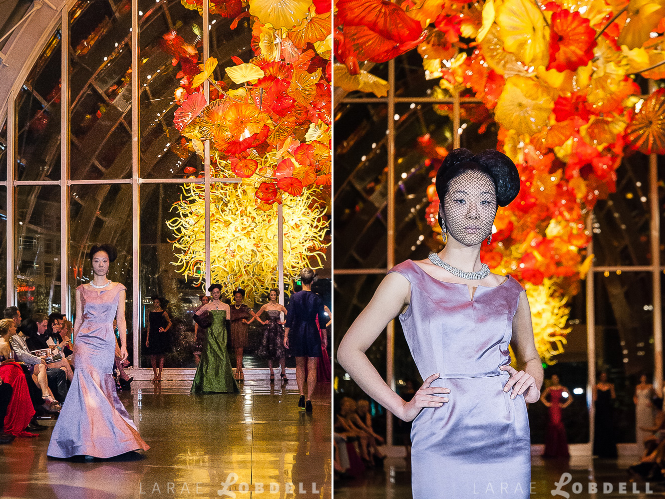 Julie Danforth couture gowns highlighted on the runway at Metropolitan Fashion Week 2013 at Chihuly Garden and Glass.