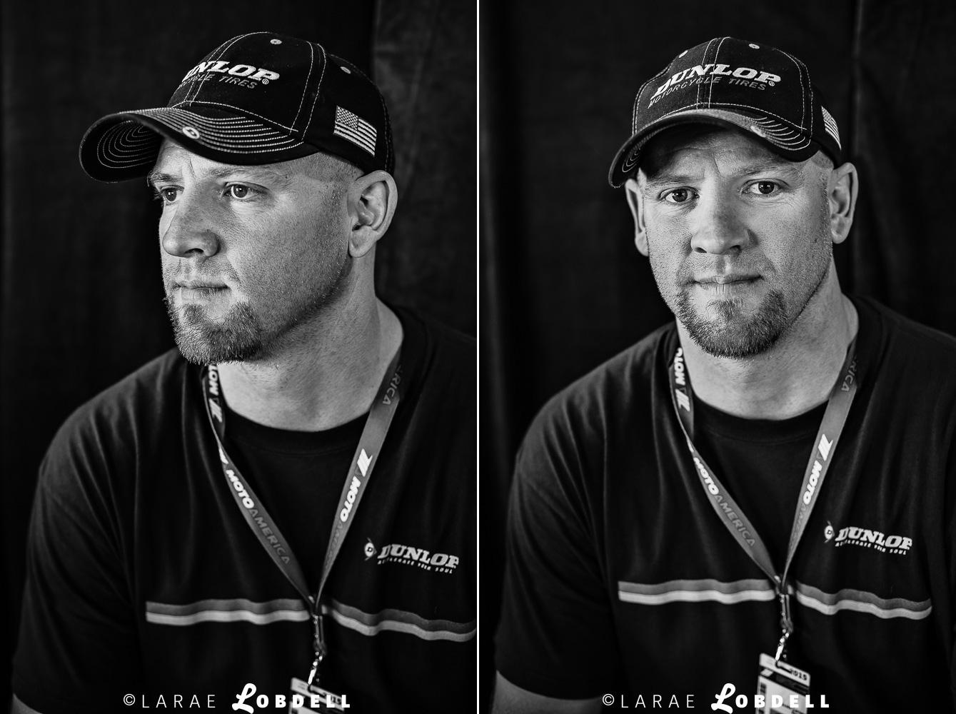 Scott Larsen, fitter crew member for Dunlop, at MotoAmerica at Road America, Elkhart Lake, WI, May 31, 2015