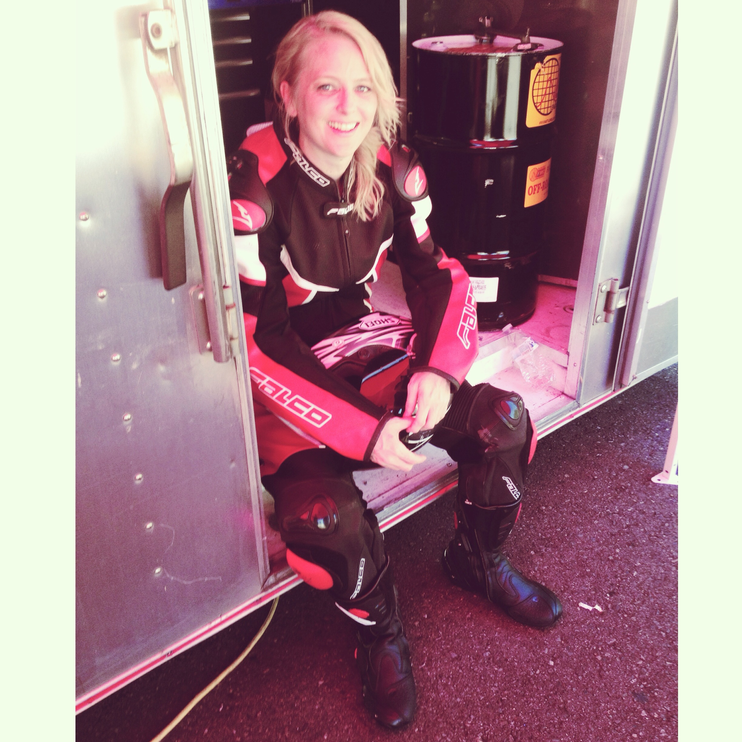 LaRae Lobdell before her first superbike ride with Danny Eslick.
