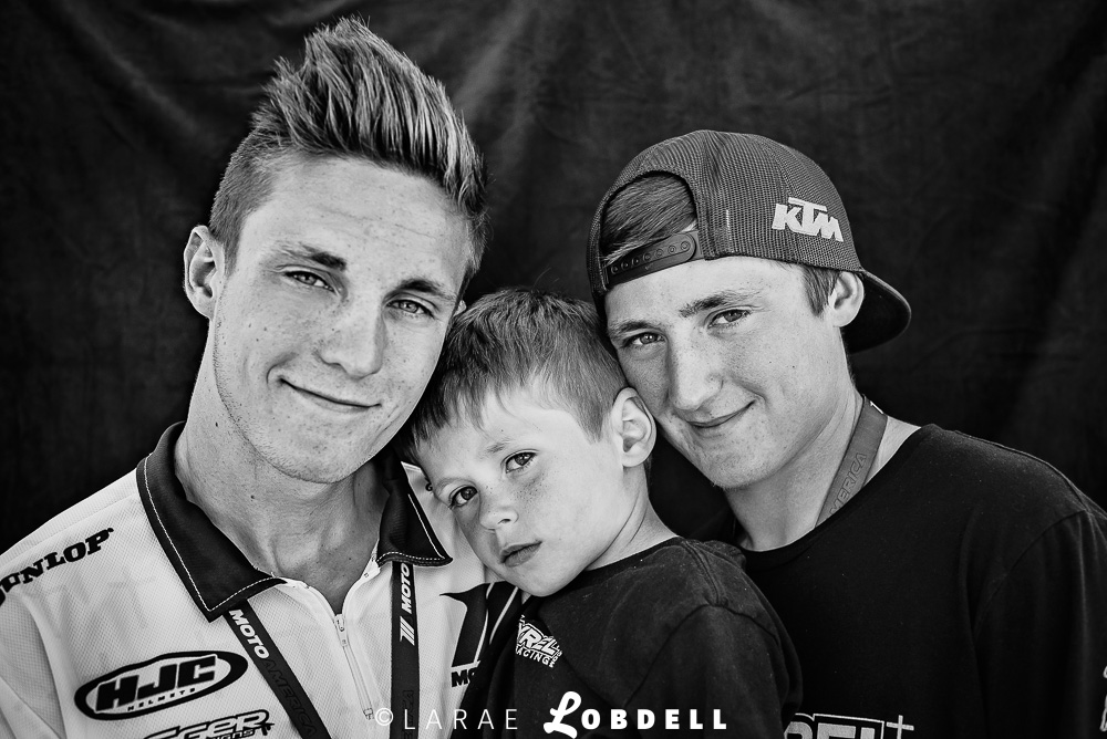 The brothers of De Keyrel Racing: Kaleb 18, Mason 15, and Levi 5 (who will be racing soon) at MotoAmerica at Road America, Elkhart Lake, WI, May 31, 2015