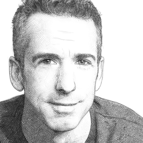 Dan Savage pencil portrait by Audren https://lesfessesdelacremiere.wordpress.com/2013/12/24/portrait-dan-savage/.